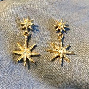 Gold star burst earrings